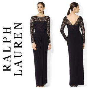 NWT Lauren Ralph Lauren Evening Black Lace Dress